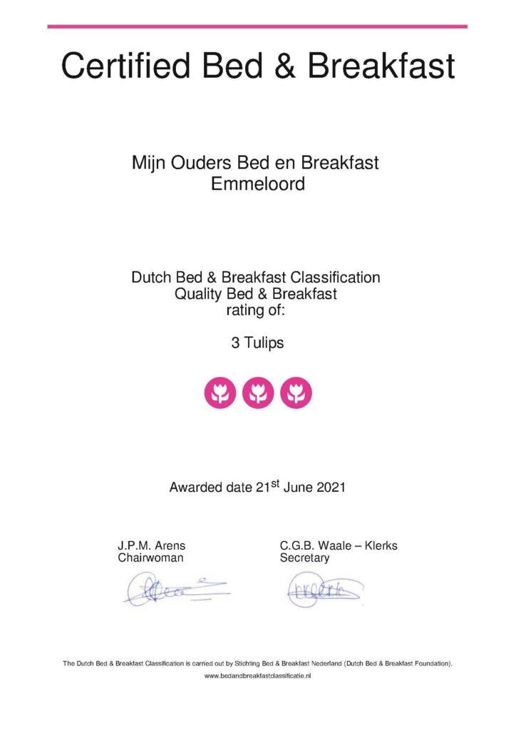 Certificaat Mijn Ouders Bed en Breakfast